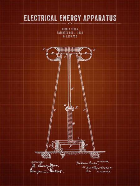 Wall Art - Digital Art - 1914 Nikola Tesla Electrical Energy Apparatus - Dark Red Bluepri by Aged Pixel