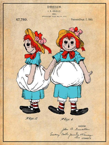 Wall Art - Drawing - 1915 Color Raggedy Ann Doll Antique Paper Colorized Patent Print by Greg Edwards