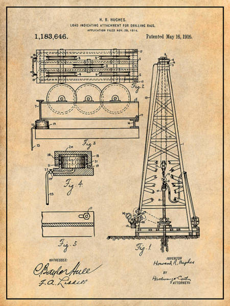 Petroleum Drawing - 1916 Howard Hughes Oil Drilling Rig Attachment Patent Print Antique Paper by Greg Edwards