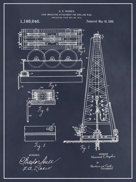Petroleum Drawing - 1916 Howard Hughes Oil Drilling Rig Attachment Patent Print Blackboard by Greg Edwards