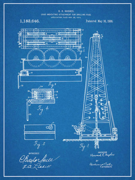 Petroleum Drawing - 1916 Howard Hughes Oil Drilling Rig Attachment Patent Print Blueprint by Greg Edwards
