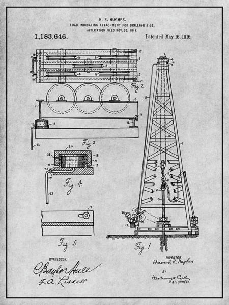 Petroleum Drawing - 1916 Howard Hughes Oil Drilling Rig Attachment Patent Print Gray by Greg Edwards