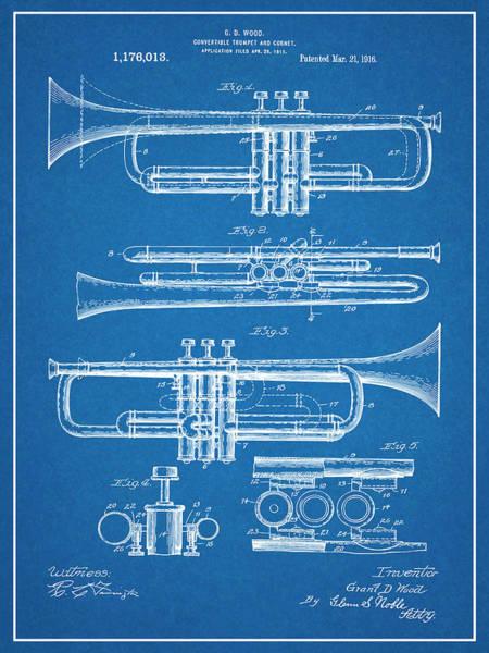 Wall Art - Drawing - 1916 Trumpet And Cornet Blueprint Patent Print by Greg Edwards
