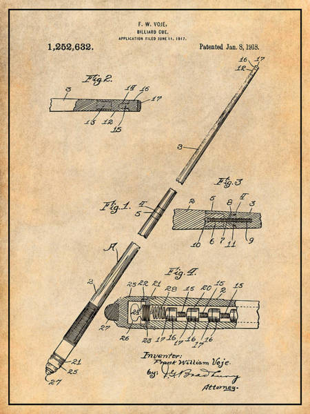 Wall Art - Drawing - 1917 Billiard Pool Cue Antique Paper Patent Print by Greg Edwards