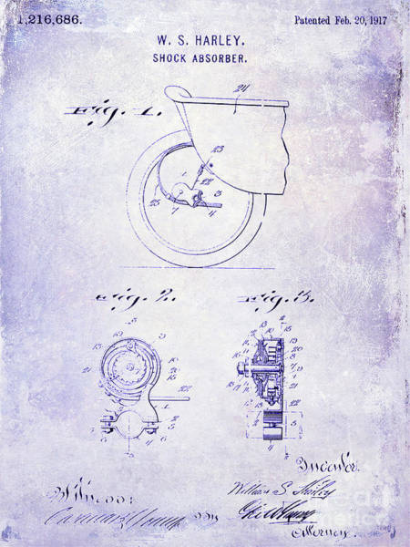 Knucklehead Wall Art - Photograph - 1917 Harley Davidson Motorcycle Shock Absorber Patent Blueprint by Jon Neidert