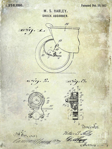Knucklehead Wall Art - Photograph - 1917 Harley Davidson Motorcycle Shock Absorber Patent by Jon Neidert