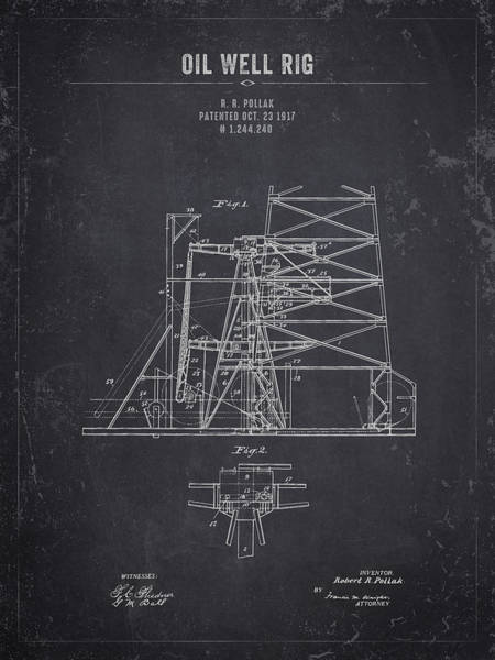 Wall Art - Digital Art - 1917 Oil Well Rig - Dark Charcoal Grunge by Aged Pixel