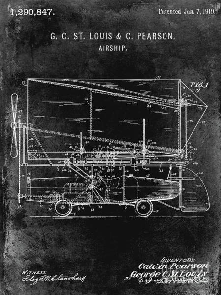 Wall Art - Photograph - 1919 Airship Patent Black by Jon Neidert