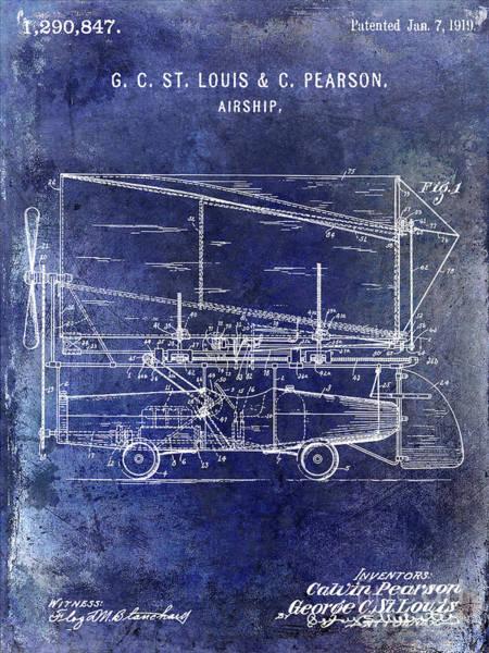 Wall Art - Photograph - 1919 Airship Patent Blue by Jon Neidert