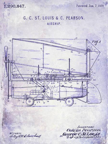 Wall Art - Photograph - 1919 Airship Patent Blueprint by Jon Neidert