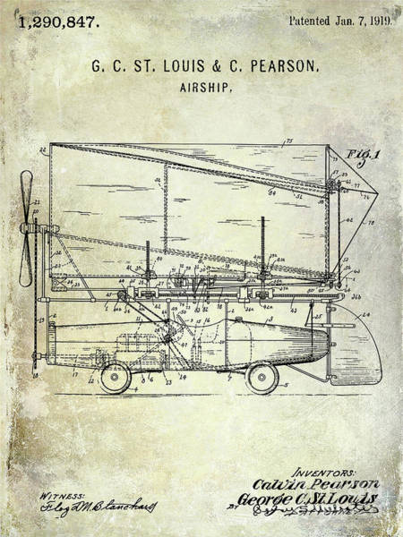 Wall Art - Photograph - 1919 Airship Patent  by Jon Neidert