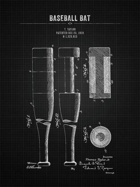 Wall Art - Digital Art - 1919 Baseball Bat - Black Blueprint by Aged Pixel