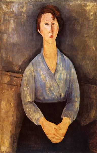 Wall Art - Painting - 1919 Jeune Femme Assise Au Corsage Bleu. 100x65 Cm. Pariscollection Particuliere by Modigliani Amedeo