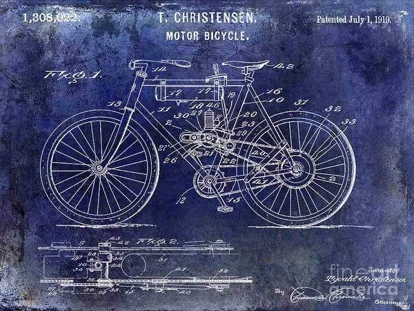 Knucklehead Wall Art - Photograph - 1919 Motorcycle Patent Blue by Jon Neidert