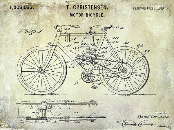 Knucklehead Wall Art - Photograph - 1919 Motorcycle Patent by Jon Neidert