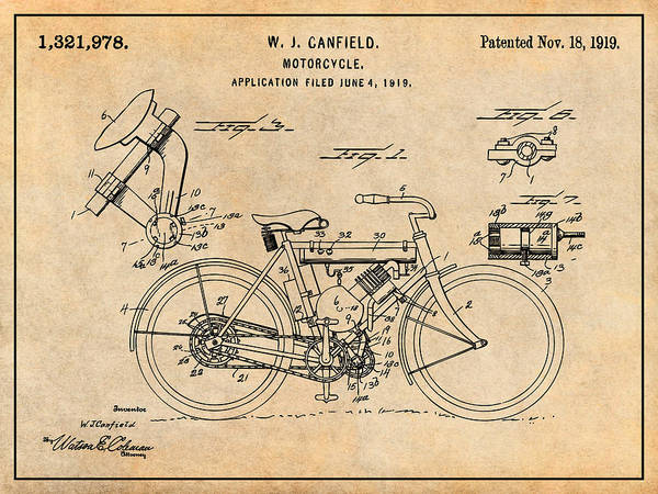 Wall Art - Drawing - 1919 W. J. Canfield Motorcycle Antique Paper Patent Print by Greg Edwards