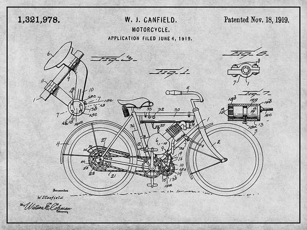 Wall Art - Drawing - 1919 W. J. Canfield Motorcycle Gray Patent Print by Greg Edwards