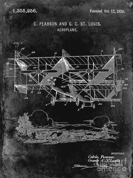 Wall Art - Photograph - 1920 Airplane Patent Black by Jon Neidert
