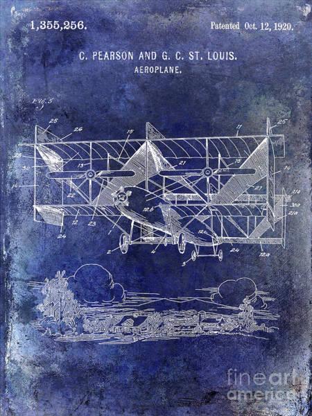 Wall Art - Photograph - 1920 Airplane Patent Blue by Jon Neidert