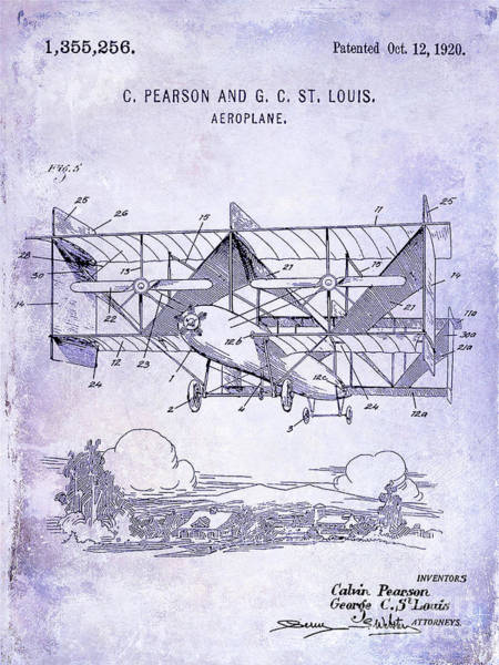 Wall Art - Photograph - 1920 Airplane Patent Blueprint by Jon Neidert