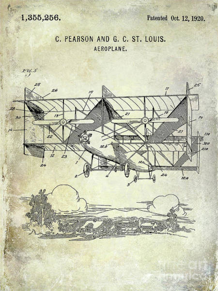 Wall Art - Photograph - 1920 Airplane Patent by Jon Neidert