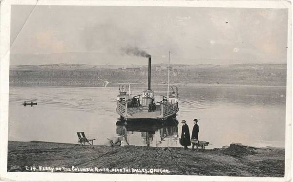 Wall Art - Painting - 1920 Ferry On The Columbia River, The Dalles, Oregon by Celestial Images