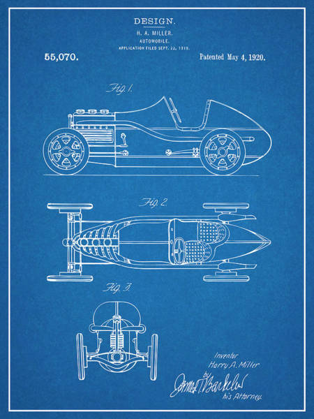 Wall Art - Drawing - 1920 H. A. Miller Race Car Patent Print Blueprint by Greg Edwards