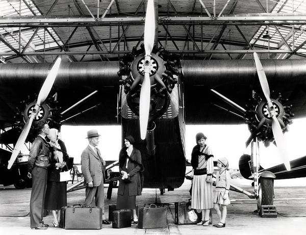 Radial Engine Photograph - 1920s 1930s Group Of Passengers Waiting by Panoramic Images