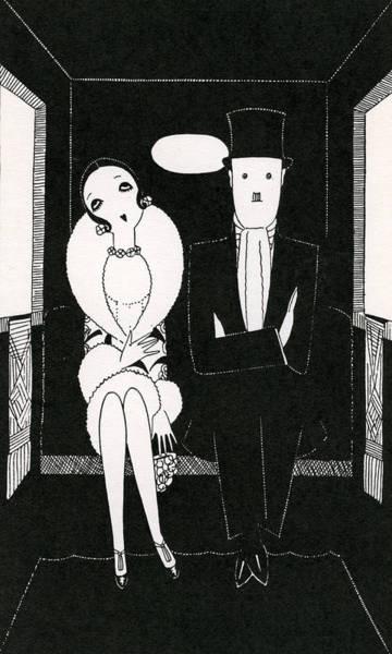 Heterosexual Couple Digital Art - 1920s Couple In Carriage by Graphicaartis