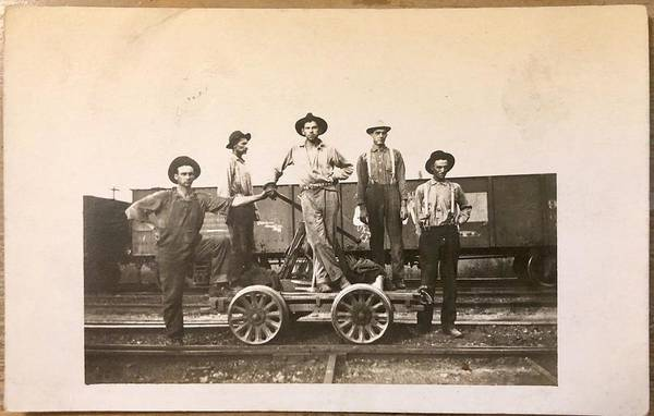 Thumb Painting - 1920s Photo Railroad Depot Inspection Push Hand Car by Celestial Images
