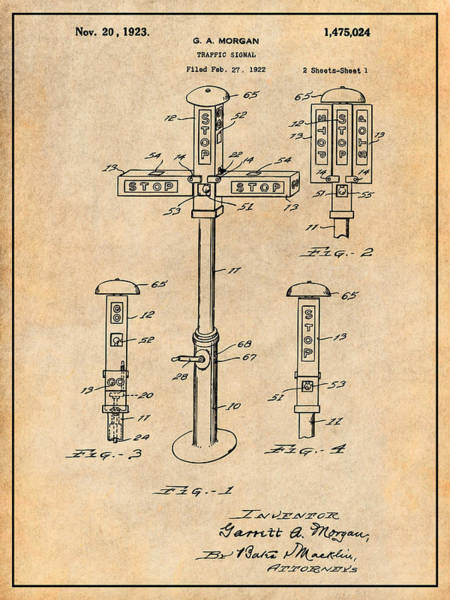 Stop Light Drawing - 1922 G. A. Morgan - First Traffic Signal Antique Paper Patent Print by Greg Edwards