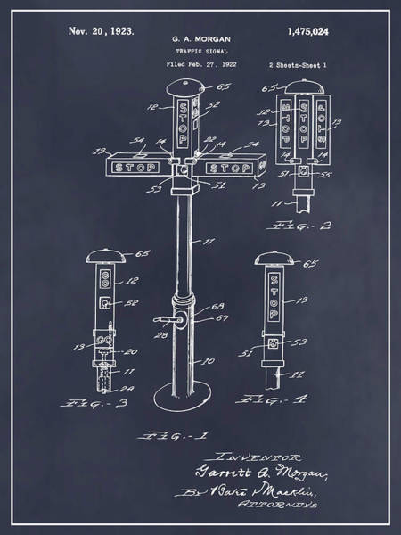 Stop Light Drawing - 1922 G. A. Morgan - First Traffic Signal Blackboard Patent Print by Greg Edwards
