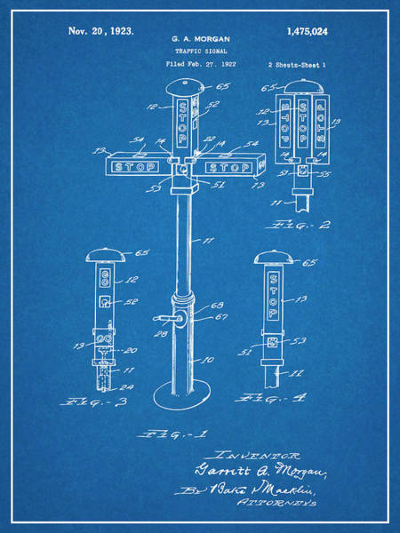 Stop Light Drawing - 1922 G. A. Morgan - First Traffic Signal Blueprint Patent Print by Greg Edwards