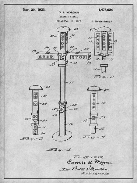 Stop Light Drawing - 1922 G. A. Morgan - First Traffic Signal Gray Patent Print by Greg Edwards