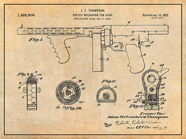 Wall Art - Drawing - 1922 Thompson Submachine Gun Antique Paper Patent Print by Greg Edwards