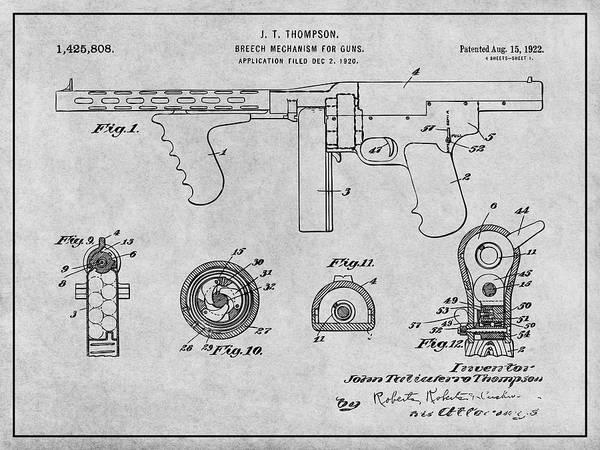 Wall Art - Drawing - 1922 Thompson Submachine Gun Gray Patent Print by Greg Edwards