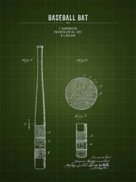 Wall Art - Digital Art - 1923 Baseball Bat - Dark Green Blueprint by Aged Pixel