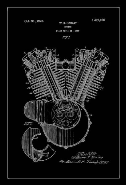 Digital Art - 1923 Harley Motor Patent Drawing Charcoal by Carlos Diaz