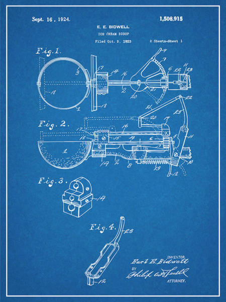 Wall Art - Drawing - 1924 Ice Cream Scoop Blueprint Patent Print by Greg Edwards