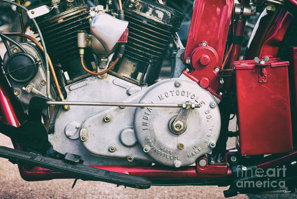 Photograph -  1924 Vintage Scout Engine by Tim Gainey