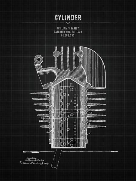 Wall Art - Digital Art - 1925 Harley Davidson Cylinder - Black Blueprint by Aged Pixel