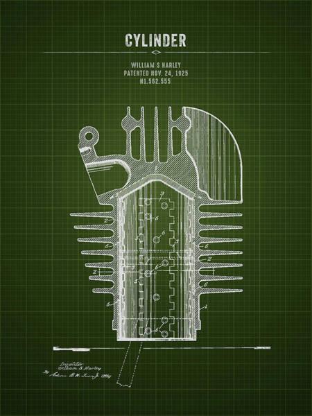 Wall Art - Digital Art - 1925 Harley Davidson Cylinder - Dark Green Blueprint by Aged Pixel