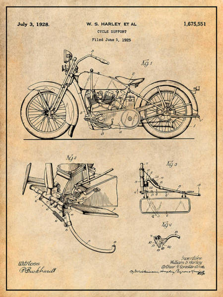 Wall Art - Drawing - 1925 Harley Davidson Motorcycle Patent Print, Antique Paper, Harley Art by Greg Edwards
