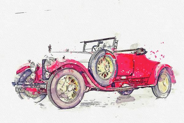 Painting - 1925 Minerva Ab Roadster Watercolor By Ahmet Asar by Ahmet Asar