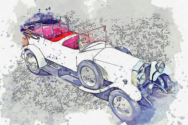 Painting - 1925 Rolls-royce Phantom I 5 Watercolor By Ahmet Asar by Ahmet Asar