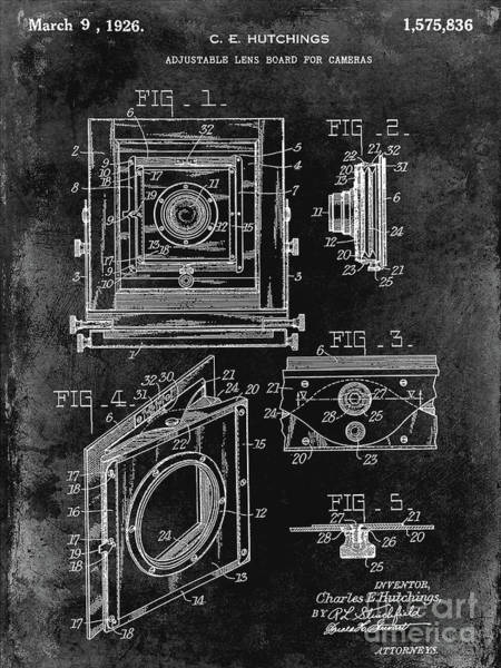 Wall Art - Photograph - 1926 Camera Lens Board Patent Black by Jon Neidert