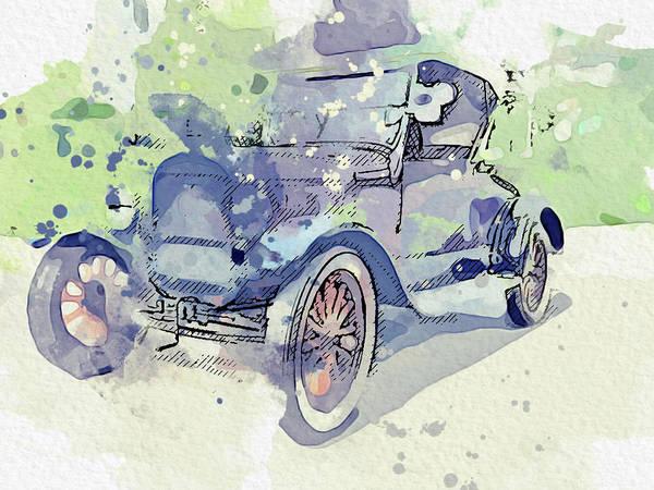 Painting - 1927 Ford Model T T - Roadster Watercolor By Ahmet Asar by Ahmet Asar