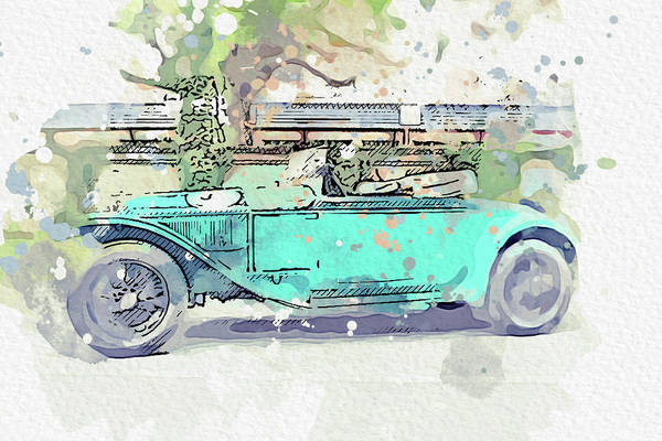 Painting - 1927 Lancia Lambda Watercolor By Ahmet Asar by Ahmet Asar