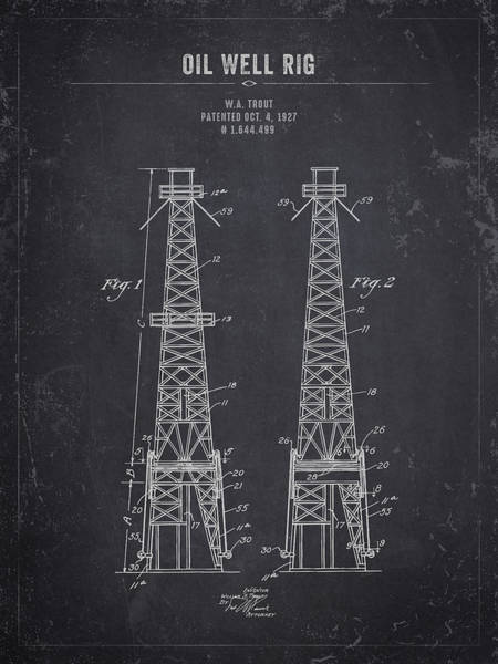Wall Art - Digital Art - 1927 Oil Well Rig - Dark Charcoal Grunge by Aged Pixel