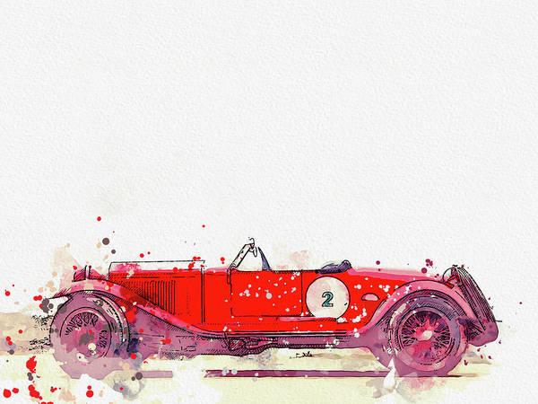 Painting - 1928 Alfa Romeo 6c 1500 Zagato Tre Posti 2 Watercolor By Ahmet Asar by Ahmet Asar